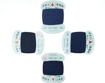 Daruma #30 weight hand stitching thread - dark blue hues - 100 meter skein