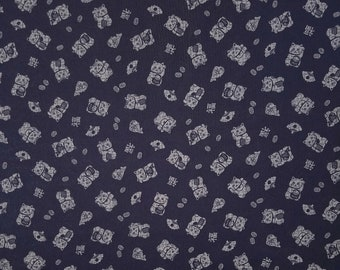 Traditional indigo basics quilting cotton  - maneki neko lucky cat pattern