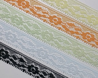Vintage, floral lace trim- by the yard - choose color:  pale yellow, tangerine orange, pale green, pale blue or black