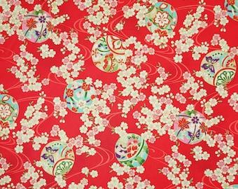 Quilt Gate Hyakka Ryoran Suzune cotton - Temari Balls and Sakura over bright red hue