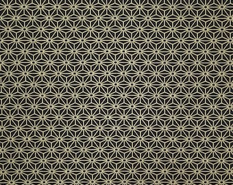 Yamaoka Japan dark blue black hemp leaf asanoha pattern cotton fabric