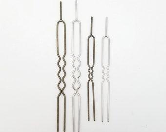 Hair pins for tsumami kanzashi - silver or antique bronze hue