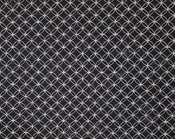 Sevenberry Japan Nara Homespun cotton canvas fabric - Shippo seven treasures pattern over navy indigo blue