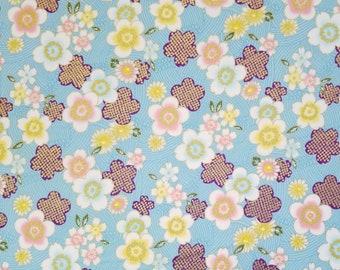 Sevenberry Japan Sakura Brook Metallic Collection - Blue Sakura Floral cotton fabric