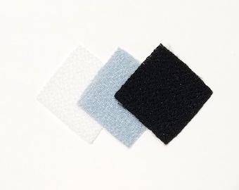 30 - precut 22mm squares for Tsumami Kanzashi - white and black hues