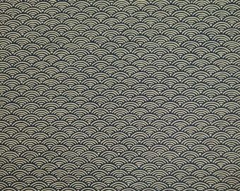 Yamaoka Japan indigo blue wave seigaiha pattern cotton fabric