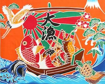 Cosmo Textiles Tairyō-bata Japanese fisherman flag fabric panel