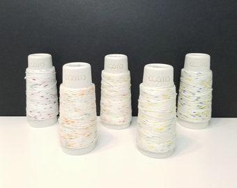 Lecien Cosmo Hidamari sashiko thread - speckle on white colors - 30 meter skein