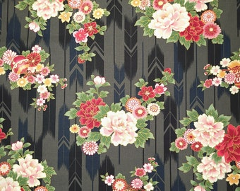 Quilt Gate Hyakka Ryoran Suzune cotton - feather and floral over steel gray hue