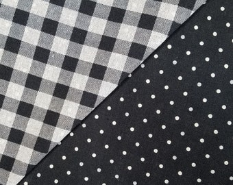 Yamaoka Japan reversible double sided gingham and polka dots cotton in black
