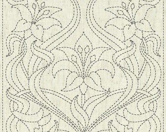 "QH Textiles sashiko pre-printed wash-away pattern sampler - lily ""Purity"" pattern on natural beige greige"
