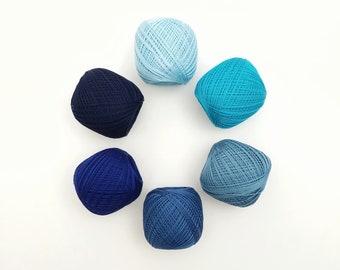 Thin weight sashiko thread- blue hued colors - 80 meter ball