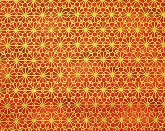 Quilt Gate Hyakka Ryoran Suzune cotton - Gold kiku mum over scarlet red