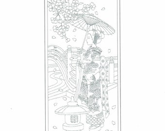 Wagara sashiko pre-printed wash-away panel - Maiko bloom in navy, black, red, lapis blue or charcoal gray