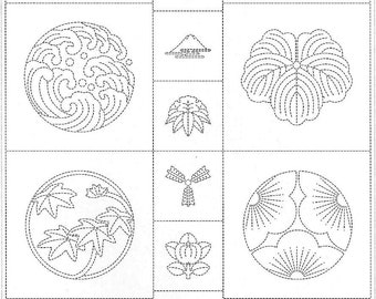Olympus Japan sashiko pre-printed wash-away panel - Japanese family crests