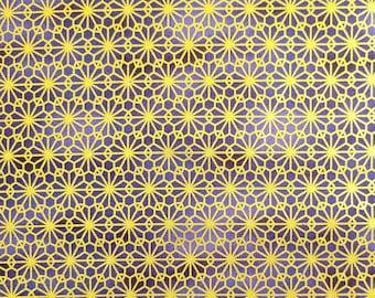 Quilt Gate Hyakka Ryoran Suzune cotton - Gold kiku mum over Blue Violet hues