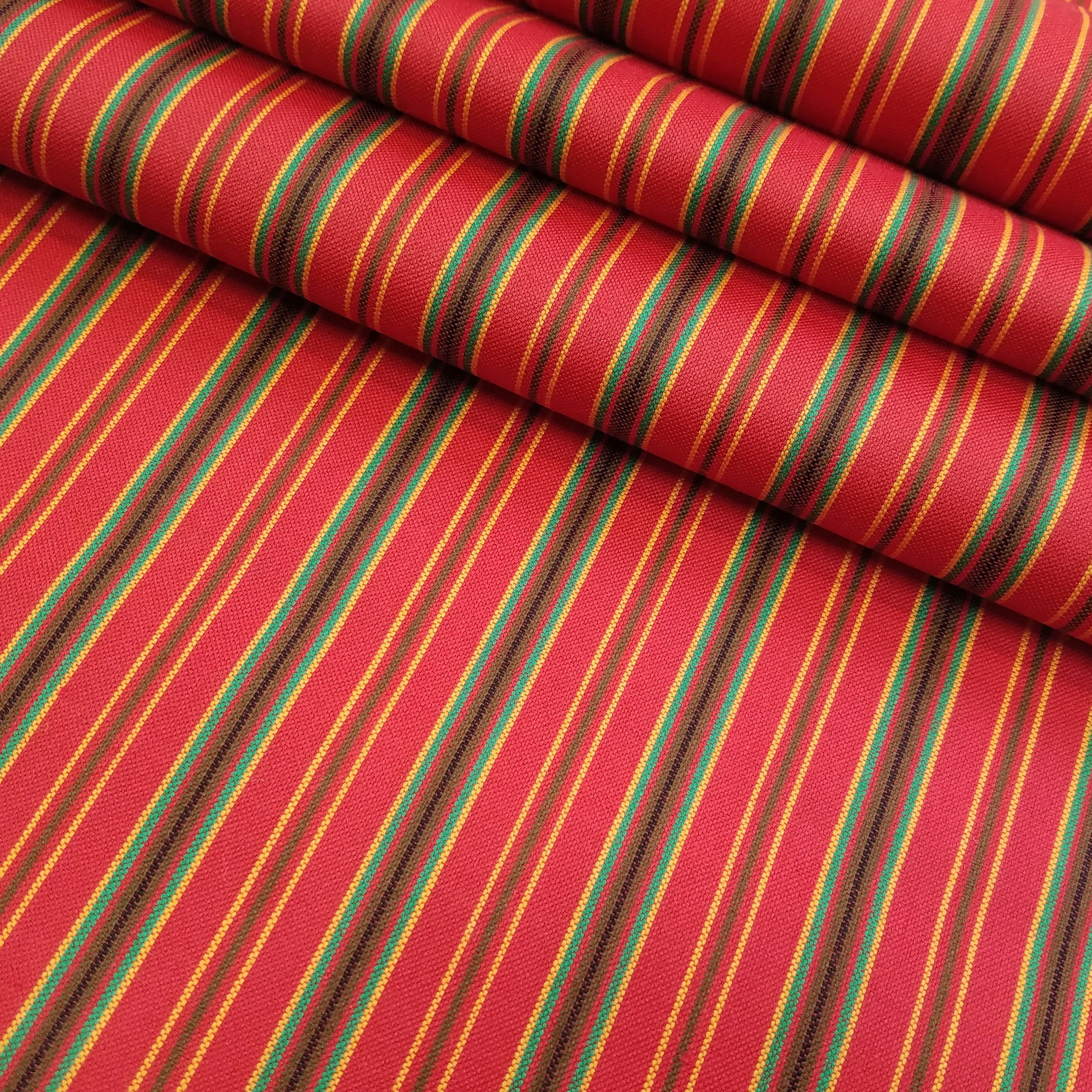 Vintage Red Striped Wool Kimono Fabric By The Yard