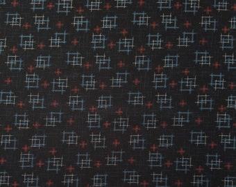 Japanese import new cotton quilting fabric - Sevenberry midnight kasuri crosshatch