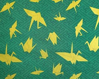 "Kokka Japan ""Yuka"" Gold Origami Cranes over deep green hue"