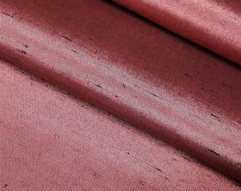 Vintage, Japanese, synthetic tsumugi pongee dupioni fabric- deep rose-maroon color