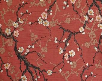 Kokka Japan Haikara Club plum blossom ume over brick red