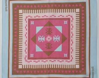 Japanese cotton tenugui hand towel cloth - pink brown and blue geometric