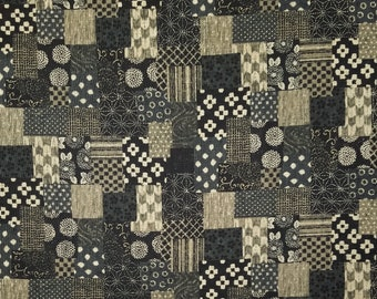 Sevenberry Japan Sevenberry Nara Homespun Collection - Rustic espresso black and taupe patchwork