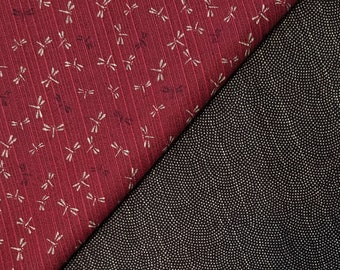Sevenberry Japan reversible double sided dragonfly and wave dobby cotton in berry red and black