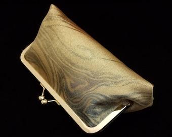 Obi clutch purse bridal evening bag with metal kiss lock closure - metallic gold marble swirl