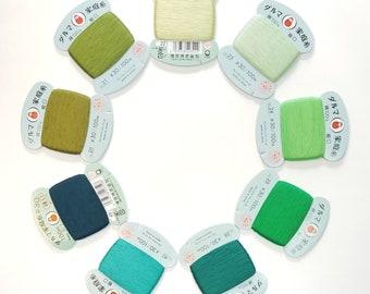Daruma #30 weight hand stitching thread - Green hues - 100 meter skein