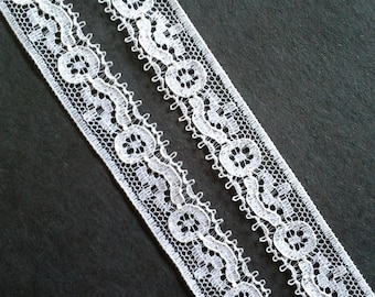 Vintage .5 inch wide white lace trim- by the yard