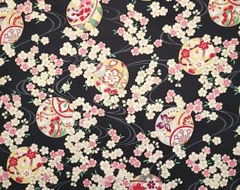 Quilt Gate Hyakka Ryoran Suzune cotton - Temari Balls and Sakura over black hue