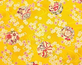 Quilt Gate Hyakka Ryoran Suzune cotton - Temari Balls and Sakura over curry ocher hue