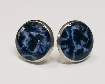 Silver toned stainless steel stud earrings with indigo and white shibori kimono fabric