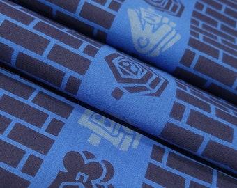 Navy blue, blue and gray cotton yukata fabric - by the yard - Matoi and brick pattern