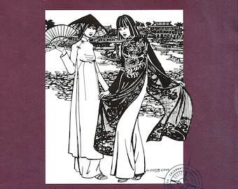 Folkware sewing pattern #139 Vietnamese Ao Dai - Misses XS to XL