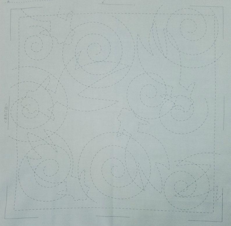 Olympus sashiko pre-printed wash-away pattern sampler kit Goldfish on navy or blue turquoise cotton