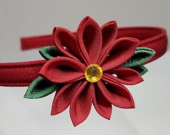 Red poinsettia Kanzashi Christmas or holiday hairband headband