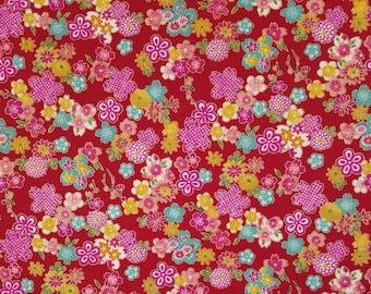 Sevenberry Japan Sakura Brook Metallic Collection - Red Sakura Floral cotton fabric