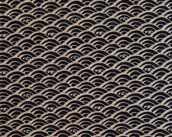 New, Quilt Gate cotton canvas fabric - Hyakka Ryoran Indigo II Seikaiha Wave pattern - fat 1/4
