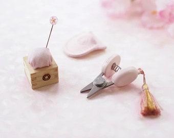 Cohana Japan mini micro scissors, pin cushion and sakura pin - special edition pink sakura color