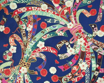 Quilt Gate Hyakka Ryoran Suzune cotton - Noshi and Bells over Royal Blue