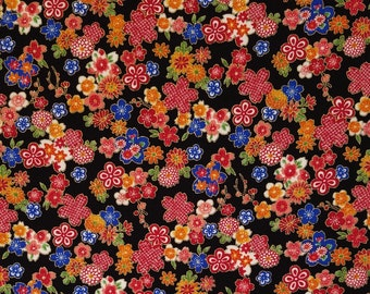 Sevenberry Japan Sakura Brook Metallic Collection - Black Sakura Floral cotton fabric