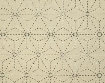Natural off-white ivory pre-printed wash-away sashiko fabric -  Asanoha hemp leaf pattern 101-C