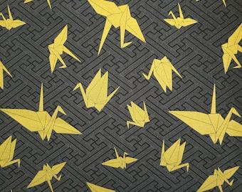"Kokka Japan ""Yuka"" Gold Origami Cranes over deep grey hue"