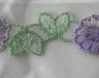 Vintage variegated lavender floral and green leaf embroidered sewing trim- by the yard