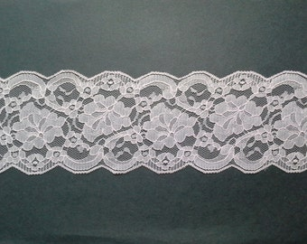 Vintage wide, pale baby pink floral lace trim- by the yard
