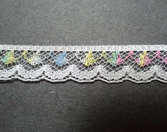 Vintage pastel variegated white lace trim- by the yard