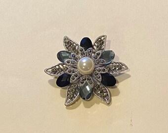 Premier Designs Sundial Necklace Enhancer Pin White Rhinestone Filigree