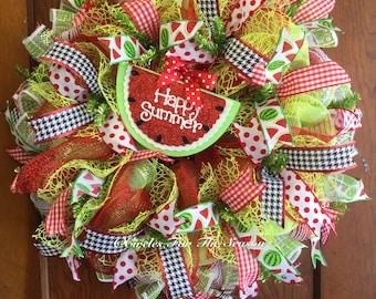 Summer watermelon wreath, deco mesh wreath, front door wreath, spring wreath, watermelon decor, wreath